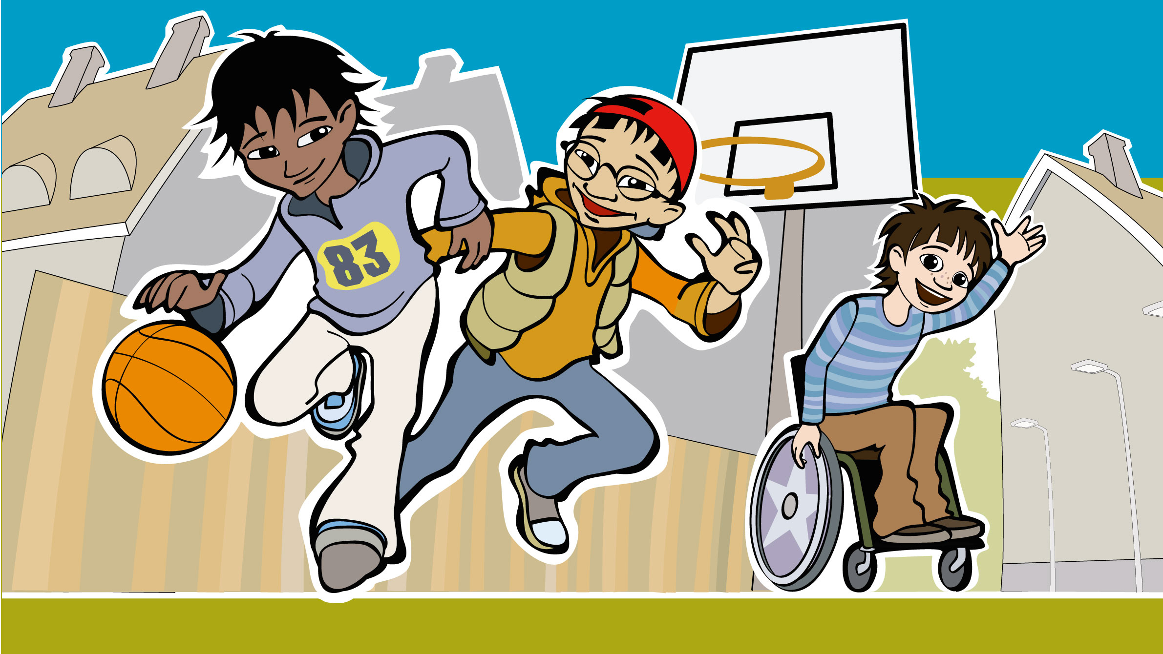 Wellspect Lofric Cartoon of children playing basketball